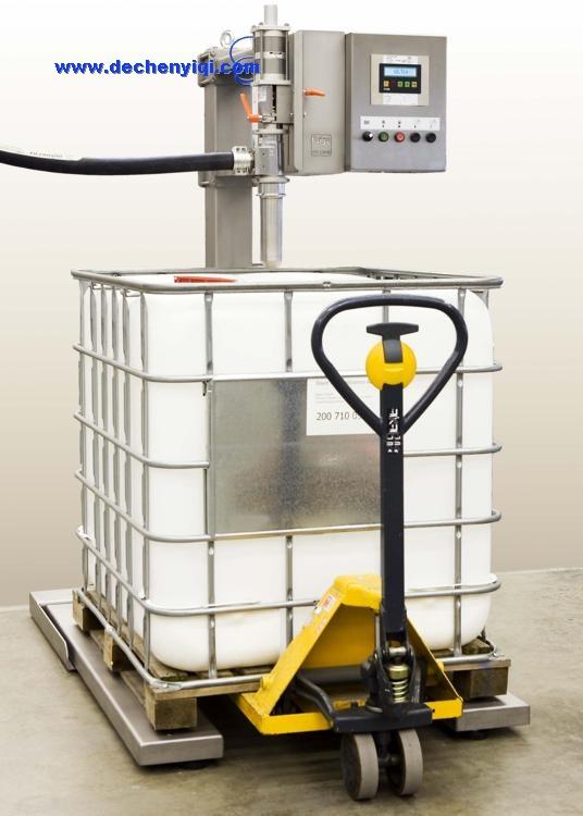 吨桶液下灌装机,ibc吨桶有泡沫液体的定量灌装